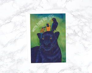 Sorry Card, Thinking of You Card, Watercolor Card, Here For You Card, Sympathy Gift, Get Well Card, Condolence Card, Watercolor Jaguar Card