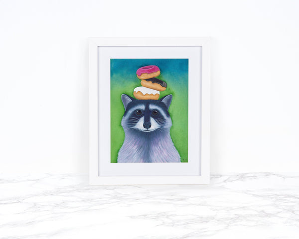 Watercolor Raccoon Art Print Whimsical Animal Art Print Whimsical Art Print Watercolor Painting Wildlife Art Print Racoon Gifts  Donut Gifts