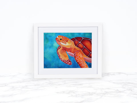 Watercolor Turtle, Green Sea Turtle Art Prints, Whimsical Animal Art Print Watercolor Painting, Coastal Wall Art, Beach Decor
