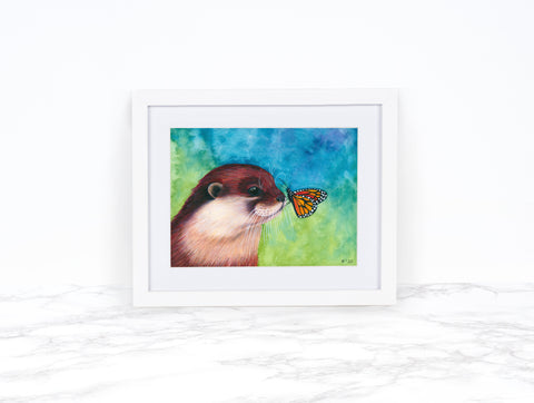 River Otter Print, Butterfly Art Print, Whimsical Animal Art Print, Whimsical Art Print Watercolor, Wildlife Art Print