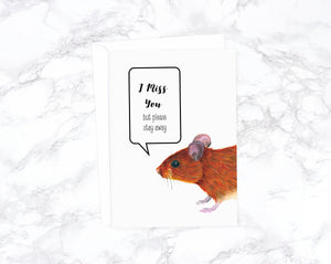 Watercolor Mouse Card, Get Well Soon, Quarantine Card, Social Distancing Card, Covid Card, Get Well Card, Thinking Of You Card