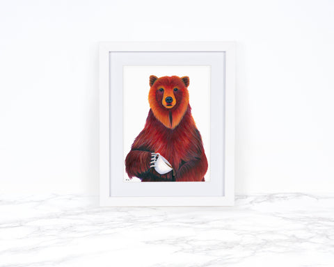 Watercolor Bear Painting, Kitchen Wall Art, Whimsical Art Print Watercolor Painting, Kitchen Decor, Whimsical Animal Art Print