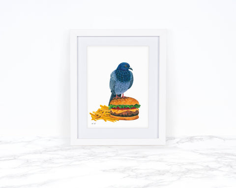 Pigeon Art Print, Kitchen Wall Art, Food Print, Food Wall Art, Whimsical Art Print Watercolor Painting, Funny Kitchen Art Kitchen Wall Decor