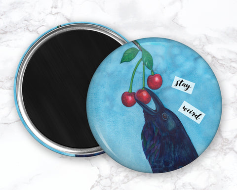 Raven Magnet, Cherry Magnet, Stay Weird, Funny Bird Magnet, Refrigerator Magnets, Funny Kitchen Magnets, Funny Fridge Magent