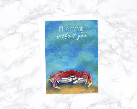 Watercolor Crab Valentines Day Card, Anniversary Card, Romantic Card, Love Card For Husband Birthday, Card For Girlfriend, Card For Wife