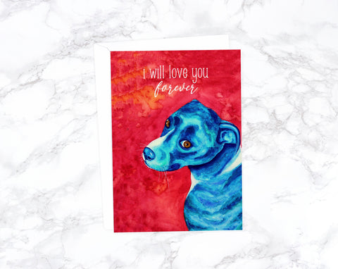 Funny Valentines Day Card, Funny Anniversary Card, I Love You Cards, Funny Love Cards, Funny Dog Birthday Card Funny, Blue Pitbull Card