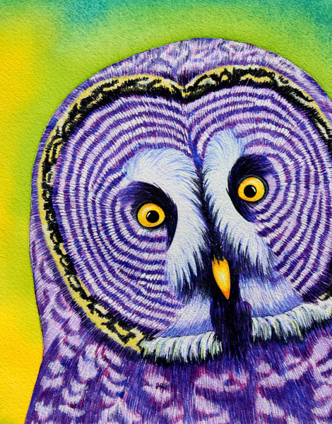 Watercolor Owl Art Print, Purple Owl Painting Whimsical Art Print, Whimsical Animal Art Print Watercolor Painting, Owl Gifts, Owl Decor