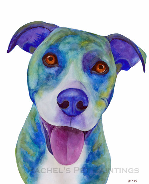 Watercolor Pit Bull Art Print, Watercolor Dog Painting, Blue Dog Art, Whimsical Animal Art Print, Whimsical Art Print Watercolor Painting