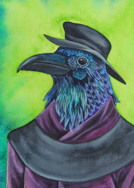 Raven Painting Watercolor Painting Anthropomorphic Art Animals in Clothes Animals in Suits Whimsical Art Print Whimsical Animal Art Print