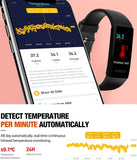 FITVII 2021 Activity Fitness Tracker, Temperature Heart Rate Blood Pressure Monitor IP68 Waterproof Sport Smart Watch