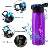 MorePro Premium Water Bottle with Built in Filter Purple