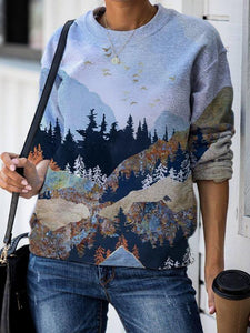 Ladies Casual Mountain Printed Round Collar Sweatshirts