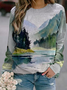Art Mountain Reflection Print Sweatshirt
