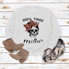 Load image into Gallery viewer, Halloween print long Sleeve T-shirt- 100% tired us u mother