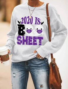 Halloween print long Sleeve T-shirt- 2020 IS Boo Sheet