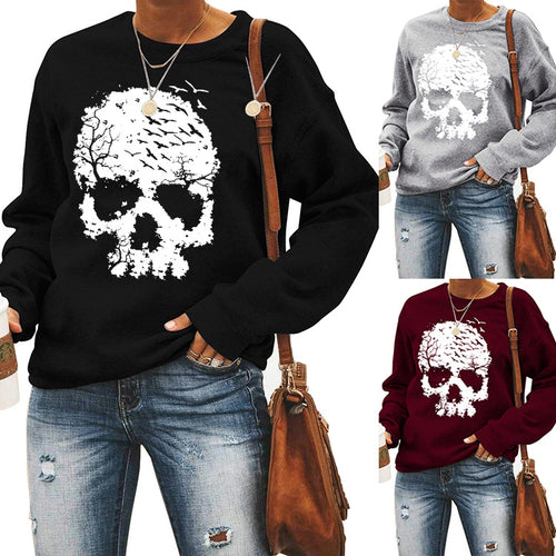 Halloween print long Sleeve T-shirt- skull
