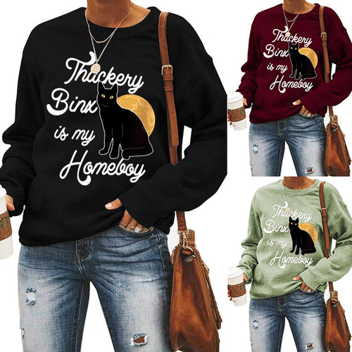 Halloween print long Sleeve T-shirt-thackery bina is my homeleoy
