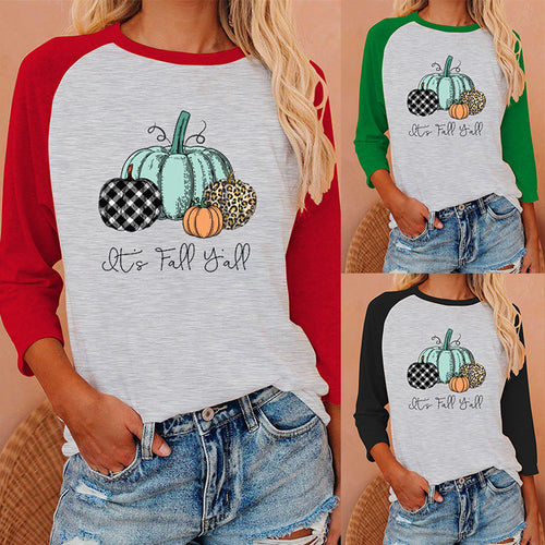 Halloween print long Sleeve T-shirt- it's fall y'all