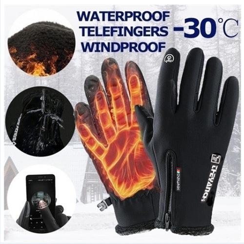 Autumn and winter zipper gloves warm windproof waterproof gloves touch screen
