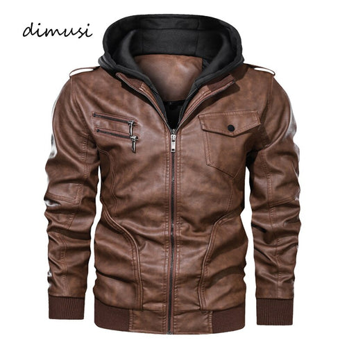Men's Motorcycle Leather Hooded Coats Leather Jackets