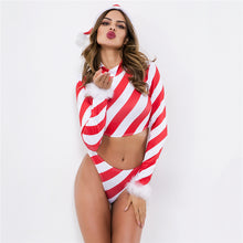 Load image into Gallery viewer, Christmas Costume Red Oblique Stripe 2 Piece Outfits