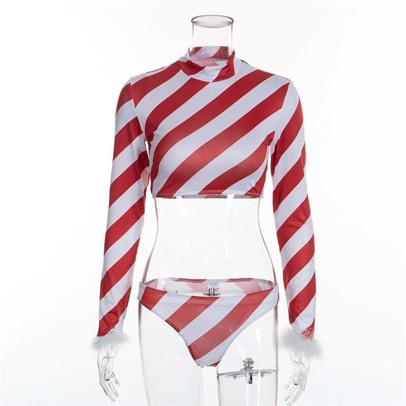 Christmas Costume Red Oblique Stripe 2 Piece Outfits
