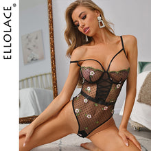 Load image into Gallery viewer, Ellolace traje con transparencias bordado Floral mono Body transparente sin mangas Sexy Body Bodycon Body traje