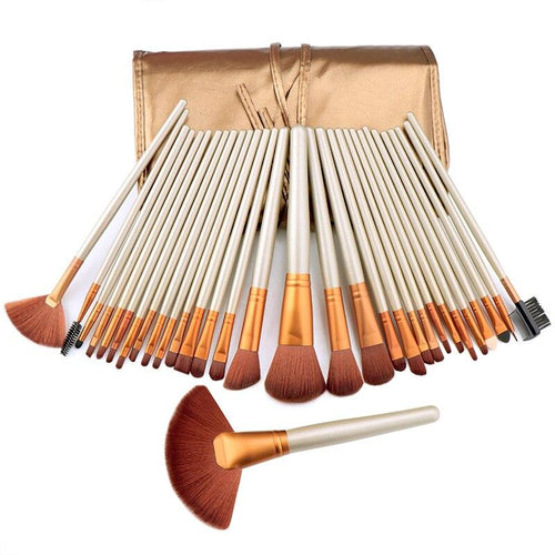 24 Pcs Makeup Brush Set Wooden Handle With Brush Bag Beauty Tools
