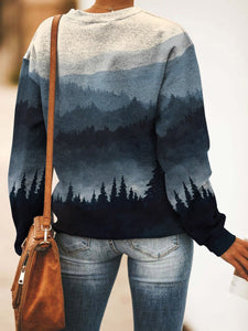 Casual round neck mountain forest print sweatshirt