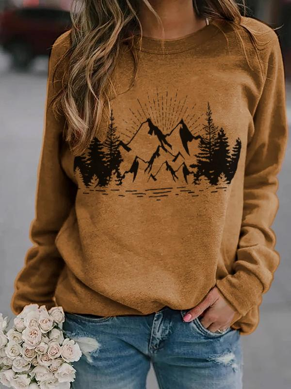 Ladies mountain scenery print sweatshirt
