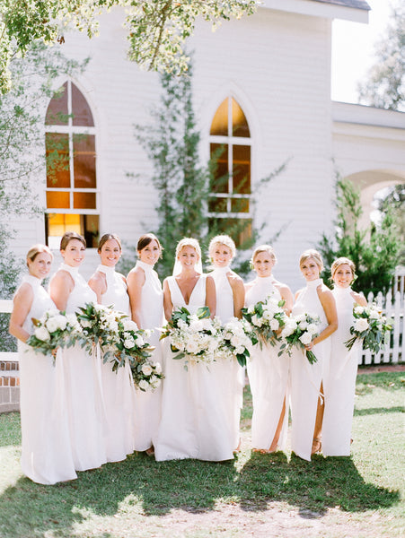 bridesmaids in white natalie deayala / classic elegant southern wedding