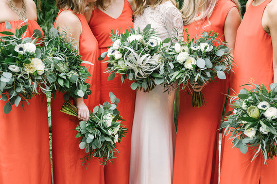 modern stylish LA wedding bright orange bridesmaid dresses natalie deayala