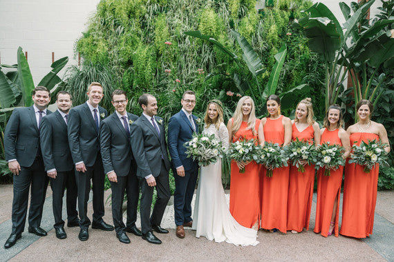 natalie deayala orange bridesmaid dresses 100 layer cake dtla wedding