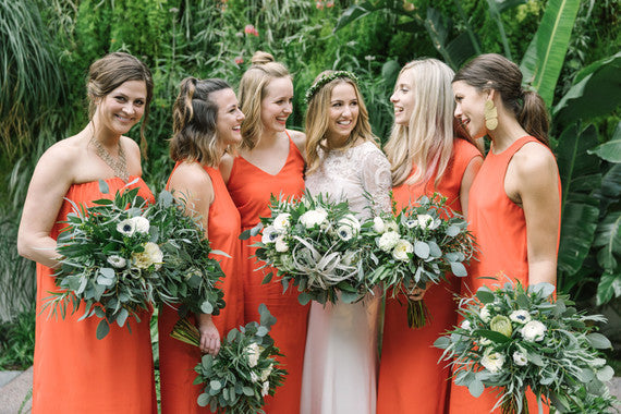 minimal and stylish DTLA wedding orange bridesmaid dresses