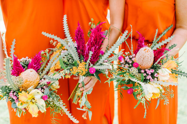 bridesmaid dresses in orange by natalie deayala