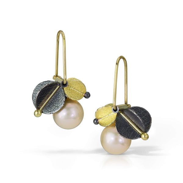 Off ear Gold/silver Urban cluster earrings with Freshwater pearl