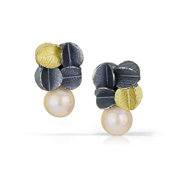 3/4 Cube Urban cluster earrings with Freshwater pearl