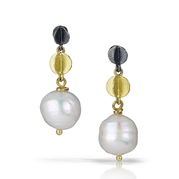 Mini Double Blossom Chain Earrings with Ming Pearls