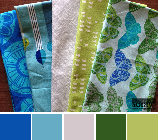 This bundle includes (left to right) Summersault, 1001 Peeps, Architextures, Comma, Cocoon Cashmere. Coordinating Kona Colors not shown just suggestions based on color palette Kona Surf, Kona Sage, Kona Ash, Kona Basil, Kona Olive.