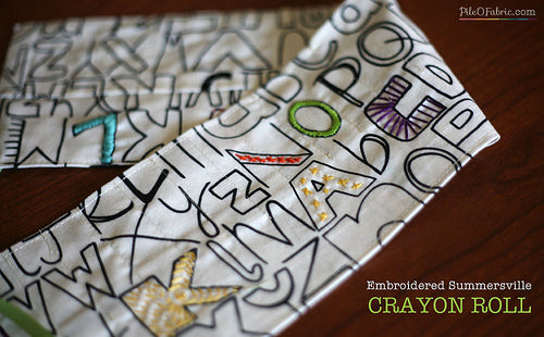 Embroidered Summersville Crayon Roll