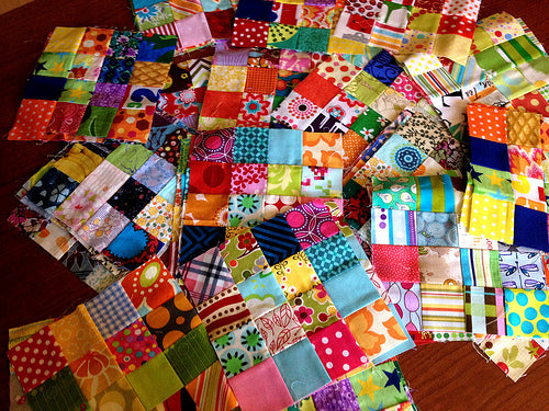 50/81 Scrappy Postage Stamp Blocks for July do.Good Stitches can't wait to put this quilt together!!!