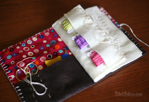 Interior has pockets for 6 embroidery floss cards