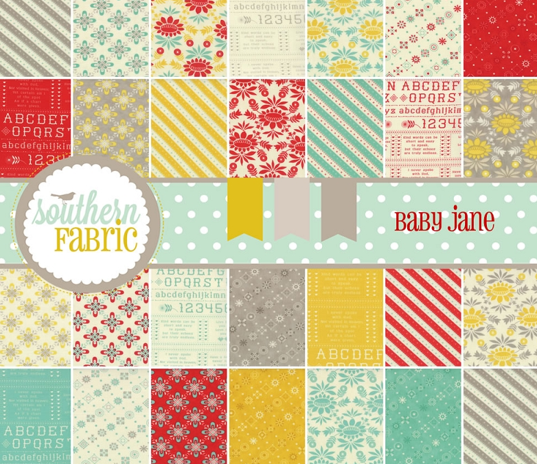 Fat Quarters, Layer Cake, Charm Pack, Jelly Roll, and Fat Eighths of Baby Jane by Julie Comstock for Moda Fabrics at Southern Fabric