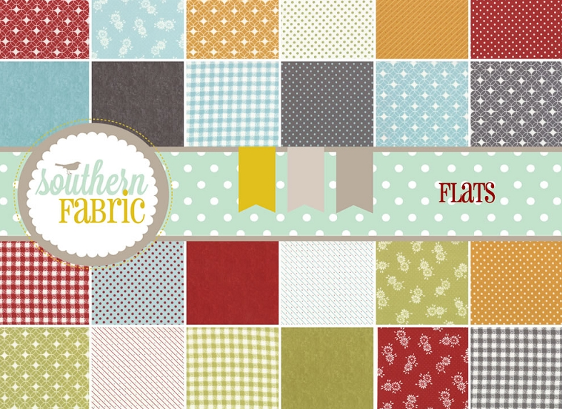Jelly Rolls, Charm Packs, and Layer Cakes of Flats by Angela Yosten for Moda Fabrics at Southern Fabric