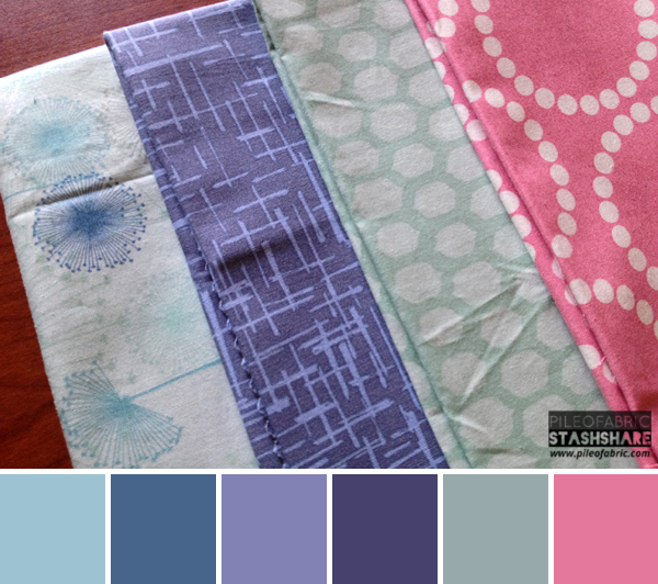 This bundle includes (left to right) Wrenly, Madrona Road, Snakeskin, Lizzy House Pearls. Coordinating Kona Cotton for color palette (not shown) Kona Blush Pink, Kona Iron, Kona Tulip, Kona Lavender, Kona Cadet, and Kona Blueberry.