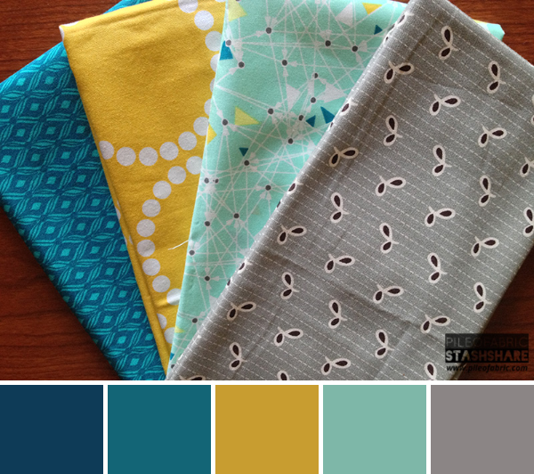 This bundle includes (left to right) Flea Market Fancy, Urban Mod, Lizzy House Pearls, Modern Bliss.  Coordinating Kona Cotton for color palette (not shown) Kona Steel, Kona Celadon, Kona Yarrow, Kona Everglade, Kona Windsor.