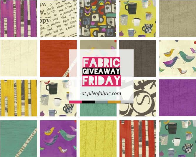 Collage, is Carrie Bloomston's first fabric line for Windham Fabrics and you will L-O-V-E the mix of text and color!
