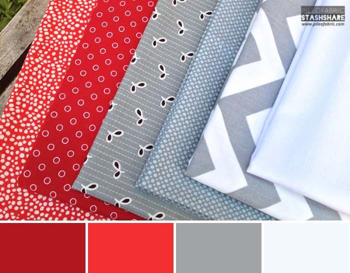 This bundle includes (left to right)  Mercer Dot, Glamping Barn Red, Flea Market Fancy Eyelet, Unkown, Gray Chevron, Kona White