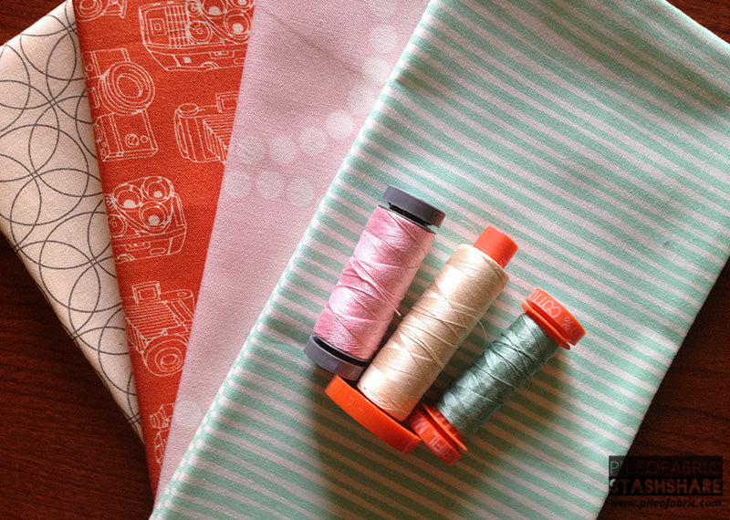 Coordinating threads (left to right) Aurifil 2423, 2310, 2845.