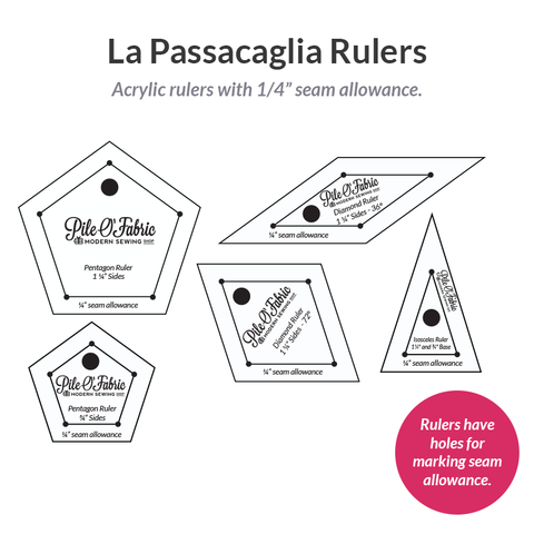 "La Passacaglia Rulers w/1/4"" Seam Allowance"